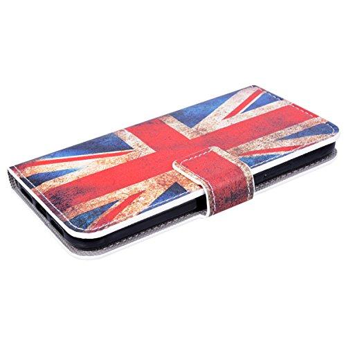 HB-Int PU Leder Flip Hülle für iPhone X Book Style Standfunktion Wallet Lederhülle mit Handschlaufe Kreditkartenfächer Shell Handytasche Drucken Muster Schutzhülle Magnetverschluss Ledertasche Klapp P UK Flagge