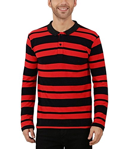 Nick&Jess Mens Red & Black Striped Full Sleeve Polo T-Shirt  available at amazon for Rs.319