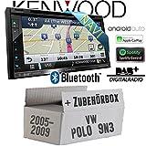 VW Polo 9N3 - Autoradio Radio Kenwood DNX5180DABS - 2-Din NAVI | DAB+ | Bluetooth | CD/DVD | Apple CarPlay | Einbauzubehör - Einbauset