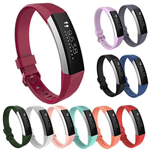 Preisvergleich Produktbild Sansee Luxus Silikon Uhrenarmband, Armband für Fitbit Alta HR (Fitbit Alta HR -8661, Weinrot)