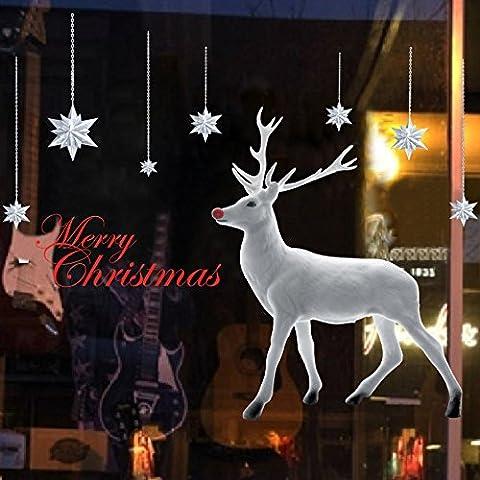 Albero di natale bianco natale alce decorazione vetrine Capodanno adesivi adesivi murali