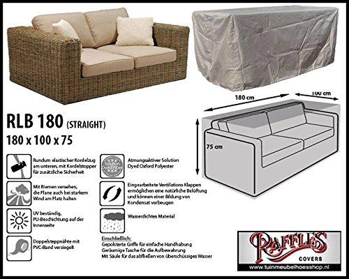 RLB180straight Hülle für Lounge Bank, Rattan Gartensofa oder Lounge Sofa, 2 Personen, passt am besten am Sofa von max. 180 x 95 cm. Schutzhüllen für Bank, Schutzhülle für Lounge...