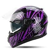 YUJIE Integralhelm Motorradhelm Mit Doppelvisier Sonnenblende Für Damen Herren Erwachsene,Black+Purple-M(57-58cm)