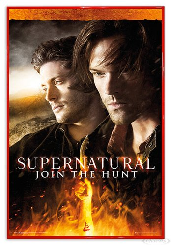 Close Up Supernatural Poster Fire (94x63,5 cm) gerahmt in: Rahmen rot