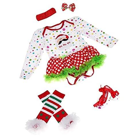 Sakure Noël Barboteuse Vêtements Définit Robe tenues de fête de naissance bébé fille Tutu Bandeau Barboteuse Chaussures Chaussettes 4pcs tenues Body