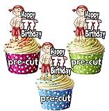 vorgeschnittenen Funny Lover Boy Ohrstecker Sexy Mann–Herren 77th Geburtstag–Essbare Cupcake Topper/Kuchen Dekorationen (12Stück)