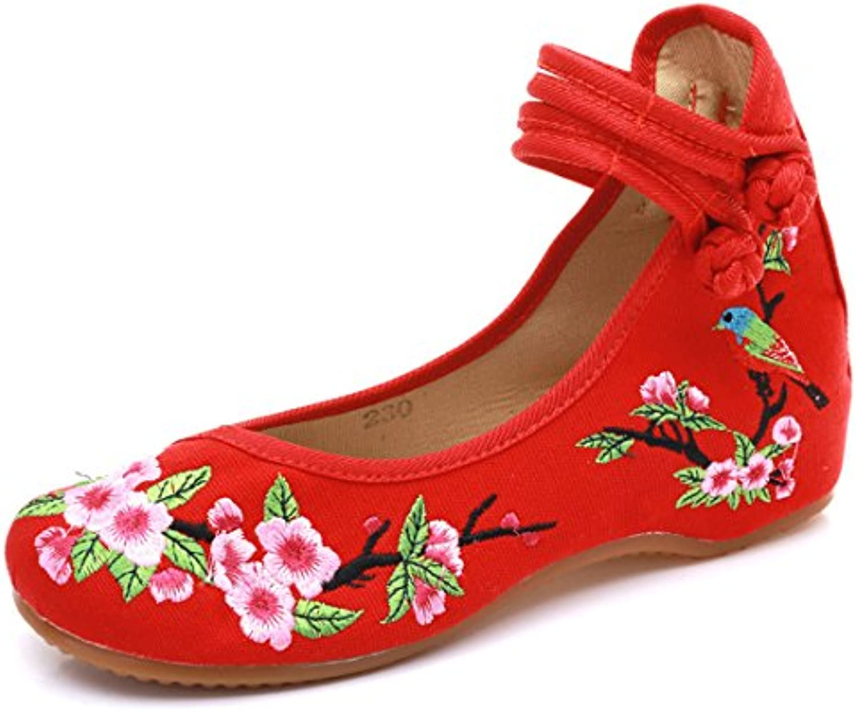Peking Mujeres étnicas Tradicionales Flores Pájaros Zapatos Bordados Chinos Casual Mary Jane Flats