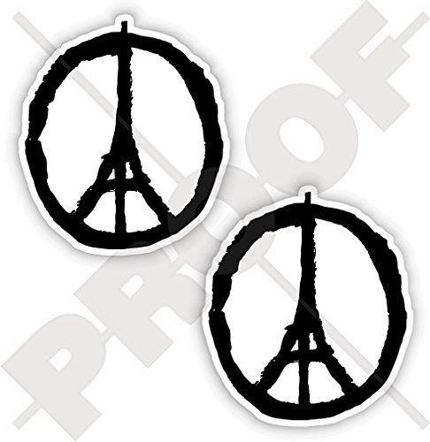 Respekts Des Symbol (FRIEDEN für PARIS Symbol, Eiffelturm Skizze Beten Sie für Frankreich Franzosen 75mm Sympathie Respekt Aufkleber, x2 Vinyl Stickers)