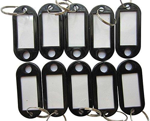 50pcs plastica nera Anello Portachiavi Bagagli Tag ID con etichetta Finestra per identificare la tua Chiave