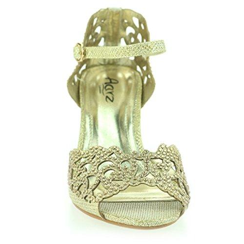 Femmes Dames Orteil Ouvert Sangle De Cheville Diamante Talon moyen Soirée Mariage Sandale Chaussures Taille Or