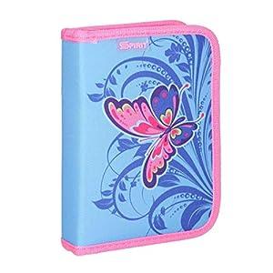 Spirit Estuche Escolar con diseño de Mariposa Rosa y 1 Cremallera.