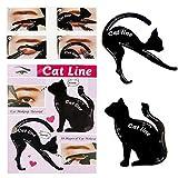 Rungao 2pcs hojas gato negro delineador de ojos diseño de color gris sombra de ojos maquillaje delineador de ojos moldes plantilla para herramientas