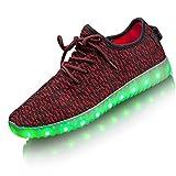 LED Schuhe, LEADFAS 7 Farben leuchten Sneaker Männer Frauen Sport Draussen Sportlich USB Aufladungs Trainer für Weihnachten Halloween Geschenk Jungen Mädchen LED Paar Turnschuh, Rot, 37 EU