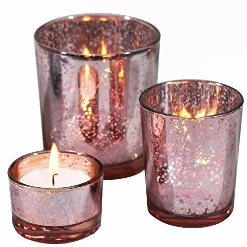 Laugh Cat Romantische Quecksilber Glas Kerzenhalter Set von 3Votiv Teelicht Kerzenständer für Home und Hochzeit Dekoration Rose