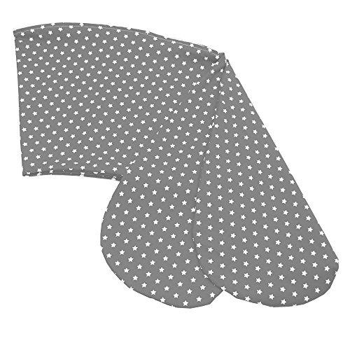 Sugarapple Ersatz Stillkissenbezug 180 cm für die Sugarapple oder Theraline Original Still- & Seitenschläferkissen, Bezug aus 100{9751dc04a4d6ffecf1b652e364c396b6b3f8ab466ff82a0809b4871f736e0a1c} Baumwolle mit Reißverschluss, Grau mit weißen Sternen
