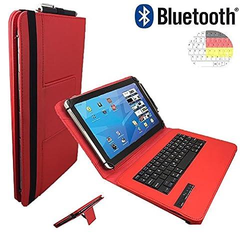 NEW | Bluetooth QWERTZ Tastatur für Samsung Galaxy Tab 10.1N P7501 Schutz Hülle Etui mit Standfunktion - 10.1 Zoll Rot Bluetooth