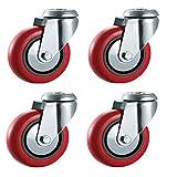 Ruote girevoli in poliuretano Bulldog Castors, di 100 mm, colore rosso, resistenti. Ruote per attrezzatura, apparecchi industriali e carrelli, max 400kg per set