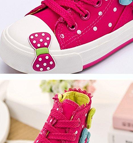 Scothen Sneaker chaussures toile fleur motif fille chaussures toile sneaker haut haute textiles Kid Sneakers Toile enfants chaussures course sport baskets filles bébé princesse chaussures Rose-Rouge