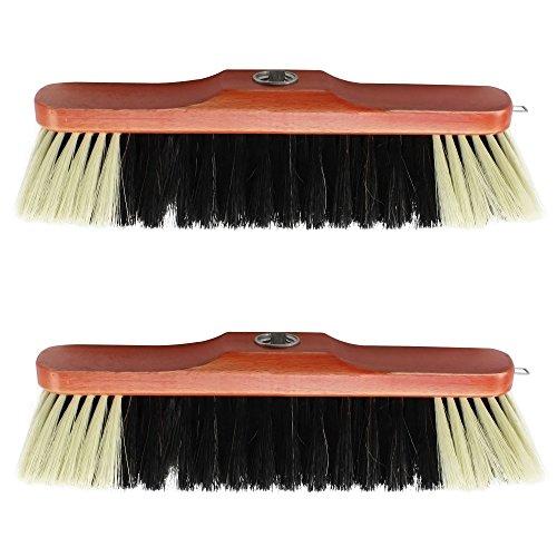 com-four® 2X Zimmerbesen aus Buchenholz mit Rosshaarmischung, 30 cm (Zimmerbesen - 02 Stück) - Innen Besen