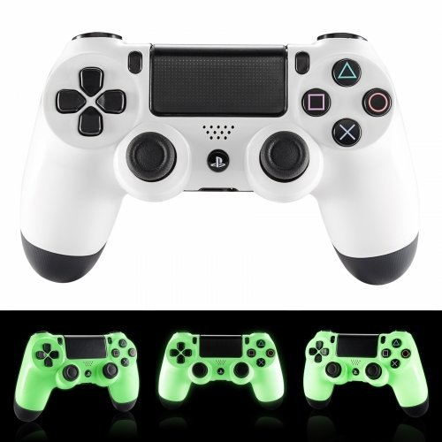 Glow in the Dark PlayStation 4 Rapid Fire Modded Controller for COD Black Ops3, Infinity Warfare, AW, Destiny, Battlefield: Quick Scope, Drop Shot, Auto Run, Sniped Breath, Mimic, More (Cod Aw Modded Controller)