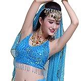 TianBin Damen Tanzkostüm Bauchtanz-Kostüm Elegant Pailletten Ärmellose Top BH Komfort Kostüme (See Blau, One Size)