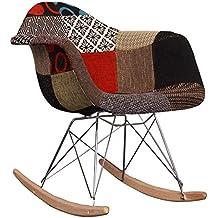 Sedia a dondolo RAR in tessuto , stile Eames, per