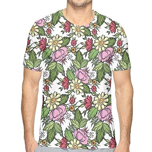 3D Printed T Shirts,Pastel Toned Lily Dahlia Frangipani Bouquet Essence of Nature Pattern M - Dahlia Sham