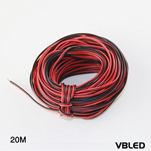 VBLED® 20meter - 12 Volt Verlängerungskabel - Schwarz/Rot - 12V Kabel für LED Strip, Minispot Strahler, Leuchten, Audio, Lautsprecher, Draht (Lautsprecher-draht-verlängerungskabel)