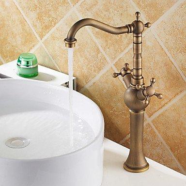 miaoge Maßgeschneiderte Waschbecken Wasserhahn mit Messing Antik Finish Wasserhahn mit Doppel-Griffe, Heiß/Kalt (Griff Knopf Delta Wasserhahn Bad)
