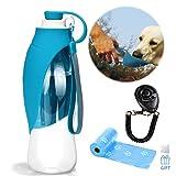 Haustier Reise Wasser Flaschen erweiterbarer Silikon Hundewasser Flaschen Zufuhr mit freiem Hundetraining Clicker- und Hundeabfall Poop Taschen (Blau)