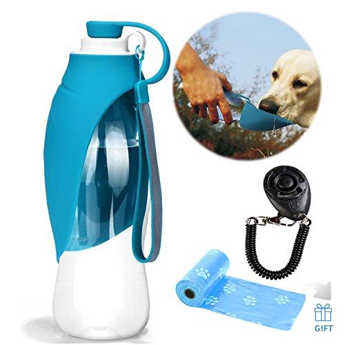 YAMI Dispensador Extensible de la Botella de Agua del Perro del silicón de la Botella de Agua del Viaje del Animal doméstico con el Entrenamiento Gratuito del Perro Clicker y Bolsas de residuos