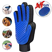 UNOOE Cat Brush Glove (2018 Upgrade), Cat Grooming Glove for Dogs Pet Grooming Mitt Magic Deshedding Glove Hair Remover Massage Tool [259 Silicone Tips Increased 1mm] for Dog,Cat, Rattit,Horse