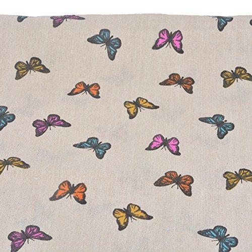 Tissu de coton Retro de lin papillon pour tapisser chaises descalzadoras pour travaux manuels, Couture Coussins Guirlandes caravanes vitrine Rideau 1 m x 50 cm. De Open Buy