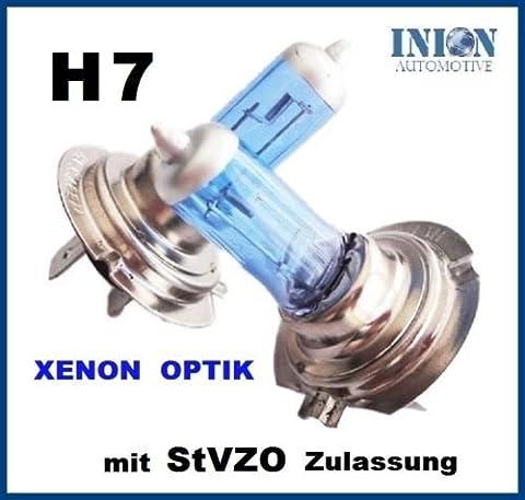 INION® 2x Stück H7 12V 55W Halogen BLAU beschichtet - Birne in Xenon Look - Licht - Leuchten - Lampe Blau-Weiß - PX26D Xenon Optik GAS Halogen Lampen Glühlampen Super White Birnen Autolampen Zugelassen im Bereich der StVZO SET INION®