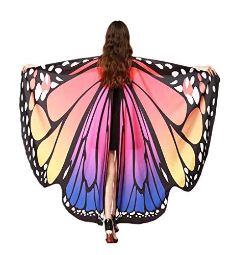 KPILP Damen Schmetterling Kostüm Karneval Faschingkostüme Schal Flügel Tuch Erwachsene Poncho Umhang für Party Halloween Weihnachten Cosplay (Blau 4