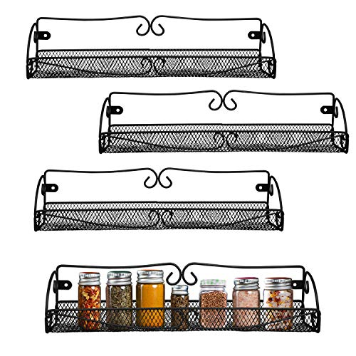 Gewürzregal - Spice Rack (4 Stück) - Wandregal für Küche, Badezimmer- L40cm, H8.5cm, W9cm - Hängeregal für Gläser, Flaschen - Hängendes Gewürz Regal- Gewürzaufbewahrung für Küche, Küchenschrank
