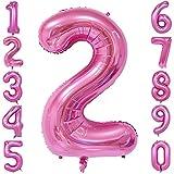 40-Zoll 0-9 in Rosa Nummer Foil Ballons Helium Zahlenballon Luftballon Riesenzahl Party Hochzeit Kindergeburtstag Geburtstag Nummer 2