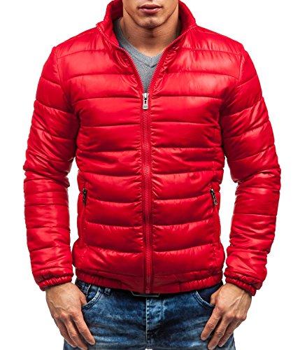 BOLF Herrenjacke ohne Kapuze Stehkragen Zip Modern Casual 4D4 Motiv Rot_4002