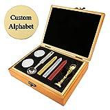 Mogokoyo Customized Kundenspezifische Gravur- Vintage-Stil Siegelstempel Wachs Stempel Set mit Metall Siegel Personalisierte Segen Gold (Alphabet Kundenspezifische Gravur)