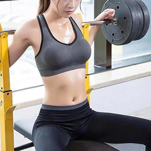 Zhhlaixing Women's Sport Bra Running Jogging Fitness Exercise High Impact Racerback Workout Bra for Yoga Fitness Gray