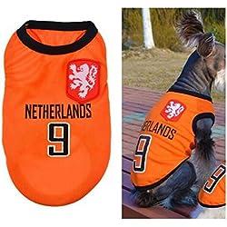 Ropa para Perros Pequeños, Jersey Chaleco Deportes Suave Transpirable del Perros Gatos Cachorros Camisa del Animal Doméstico de Fútbol Copa del Mundo para Verano Al Aire Libre -Netherlands,M