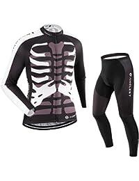 (Cojín 3D)(traje tamaño:L) larga Moda transpirable manga ciclismo de hombres los sudo para rompevientos chaleco maillot rendimiento Jerseys ropa