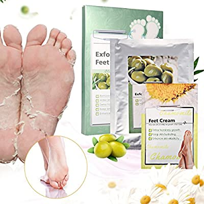 Exfoliating Foot Mask Y.F.M. 1 Pair Feet Mask & Cream, Remove Calluses and Dead Skin Cells in 7 days, Foot Cream Moisturizes, Repairs and Delay the Growth of Callouses