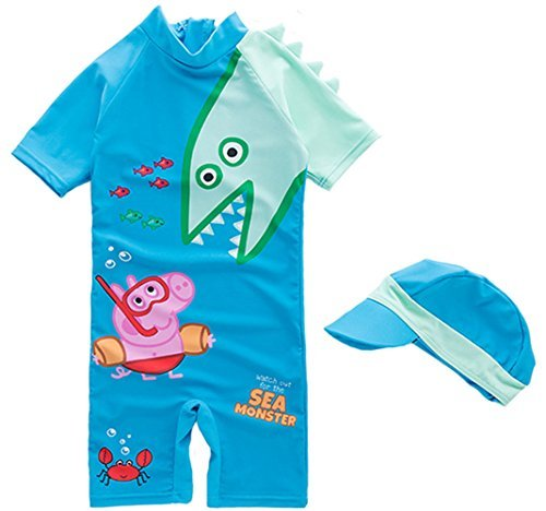 Baby-Boy-Cartoon-Peppa-Shark-Swimsuit-Surfing-Suit-Cute-Children-Swimming-size-3T-Blue