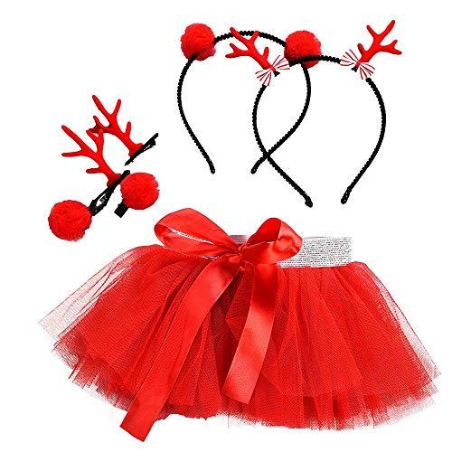 LILICAT Bébé Filles Enfants Tutu De Noël Ballet Jupes Fête Jupe + Cerceau De Cheveux Set Robe de Princesse Tenue décontractée