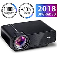 RAGU Z400 Mini Portable Movie Gaming Projector, Multimedia Home Theater Video Projector with +21% Lumens 50,000Hours Support HDMI VGA USB AV SD Connected with Amazon Fire TV Stick Laptop iPhone/iPad Smartphone Xbox for Movie Picture Game Party, 2018 Upgraded LED Cinema Projector