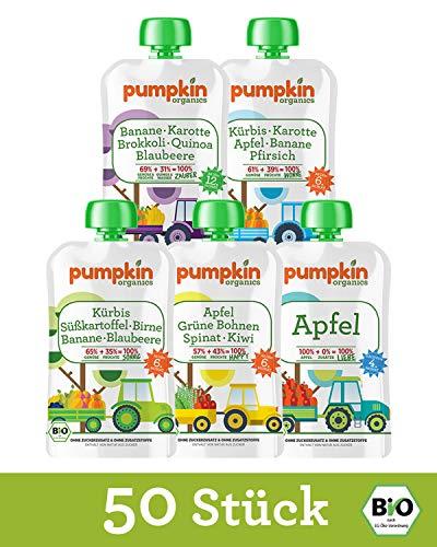Preisvergleich Produktbild Pumpkin Organics SNACK PACK Bio Gemüse Quetschies,  50er Pack (50 x 100g) - Snacks für Kinder und Babys ab dem 12. Monat