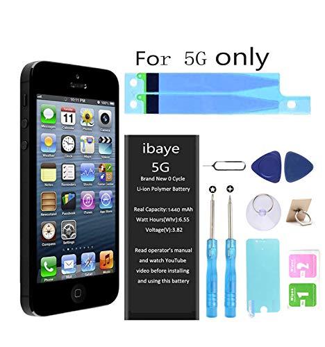 Ibaye Batteria per iPhone 5 1440mAh Alta Capacità, batteria interna Ricambio ricaricabile Sostituzione in Li-ion con kit Smontaggio Cacciavite Strumenti di Riparazione