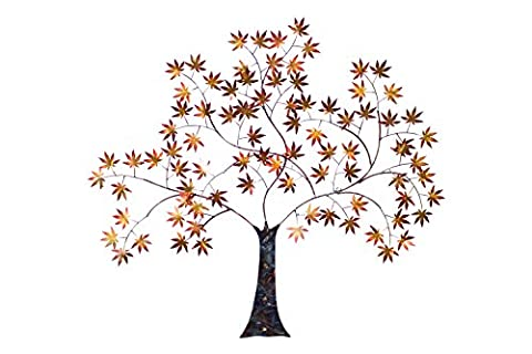 Vivid KunstLoft® metal wall art 'Greeting Tree' in 35x39,5x3inch | Large hand-crafted wall decoration | Maple tree in red & gold colours | Contemporary design wall picture metal sculpture