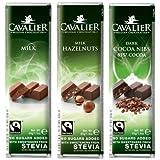 Dafortos Cavalier - Stevia-Schokoriegel-Auswahl IV - 3x40g - Vollmilch, Vollmilch-Haselnuss, Zarbitter mit Kakaonibs